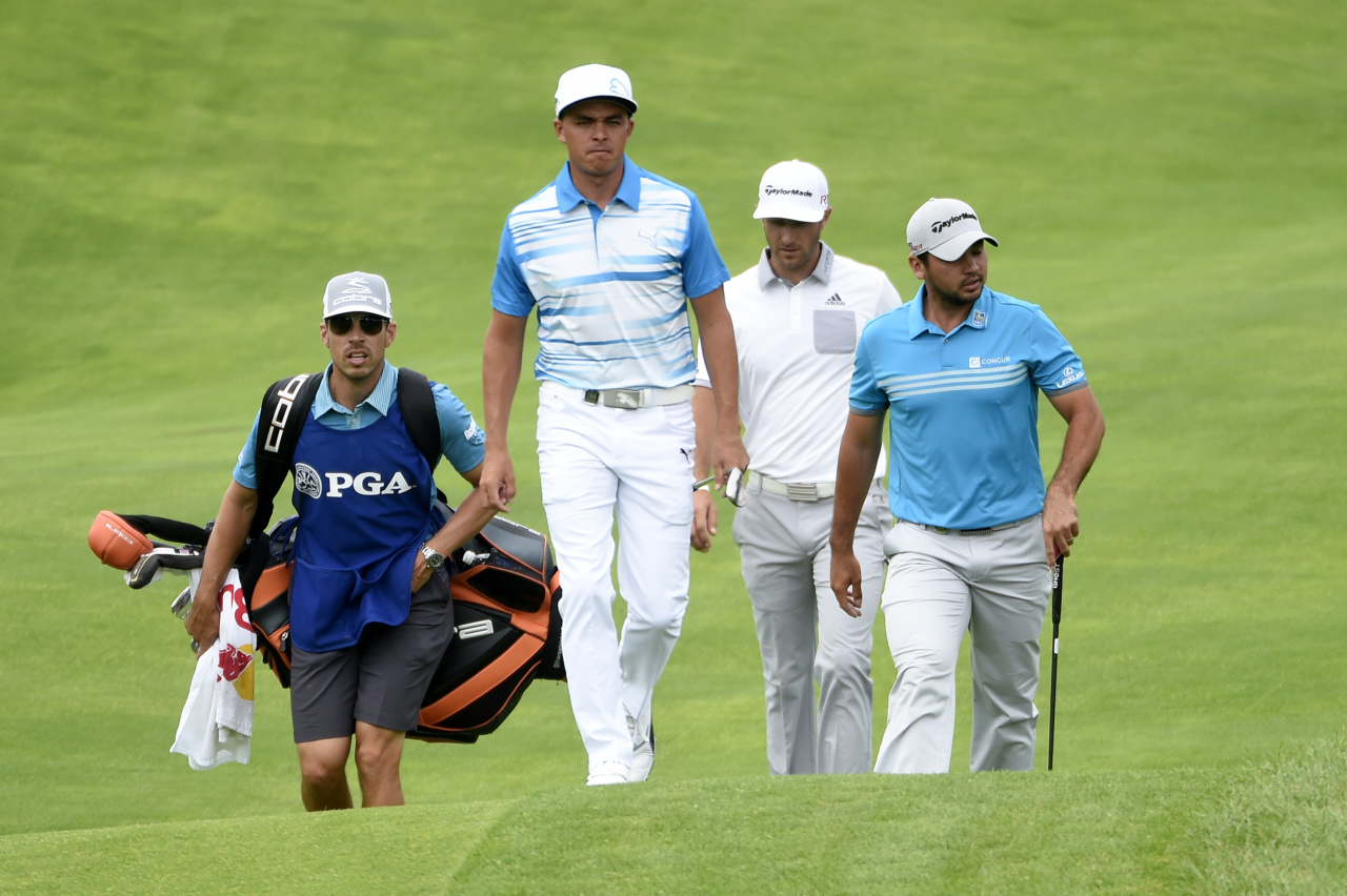 150813, Golf, PGA Aug 13, 2015; Sheboygan, WI, USA;  Rickie Fowler,  Dustin Johnson and  Jason Day walk up to the 18th green during the first round of the 2015 PGA Championship golf tournament at Whistling Straits. Mandatory Credit: Michael Madrid-USA TODAY Sports  / Reuters Picture Supplied by Action Images *** Local Caption *** 2015-08-13T162320Z_858136124_NOCID_RTRMADP_3_PGA-PGA-CHAMPIONSHIP-FIRST-ROUND.JPG © BildbyrŒn - COP 7 - SWEDEN ONLY