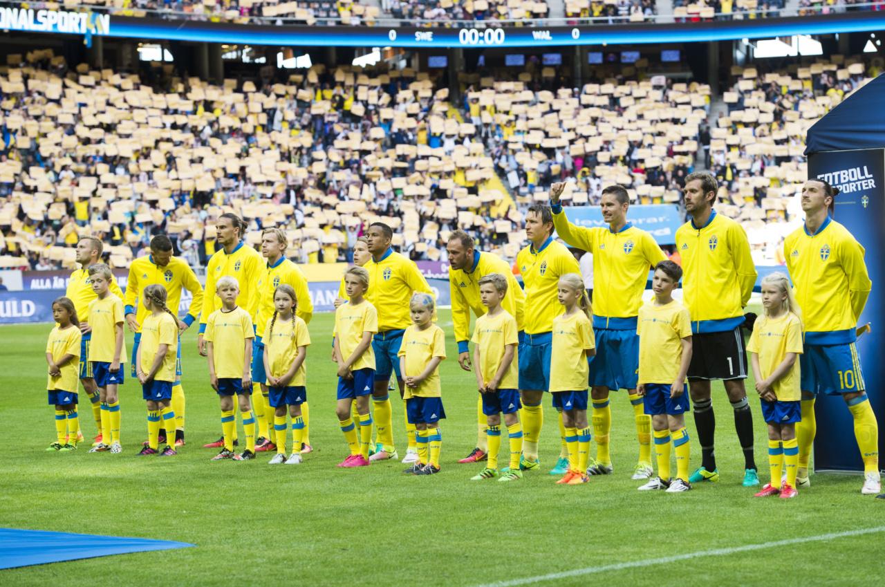 160605 Sveriges spelare stŠller upp fšr nationalsŒngen under fotbollslandskampen mellan Sverige och Wales den 5 juni 2016 i Stockholm. Foto: Linnea Rheborg / BILDBYRN / Cop 189