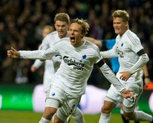 150222, Fotboll, Danska Ligan, FC Kšpenhamn - VestsjŠlland: Ludwig Augustinsson, FCK jubler efter sit mŒl til 2-0 © BildbyrŒn - COP 152 - SWEDEN ONLY