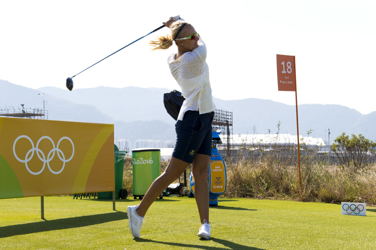 160815 Sveriges Anna Nordqvist under en trŠning infšr damernas golftŠvling den 15 augusti 2016 under OS i Rio de Janeiro. Foto: Daniel Stiller / BildbyrŒn / kod DS / 59031