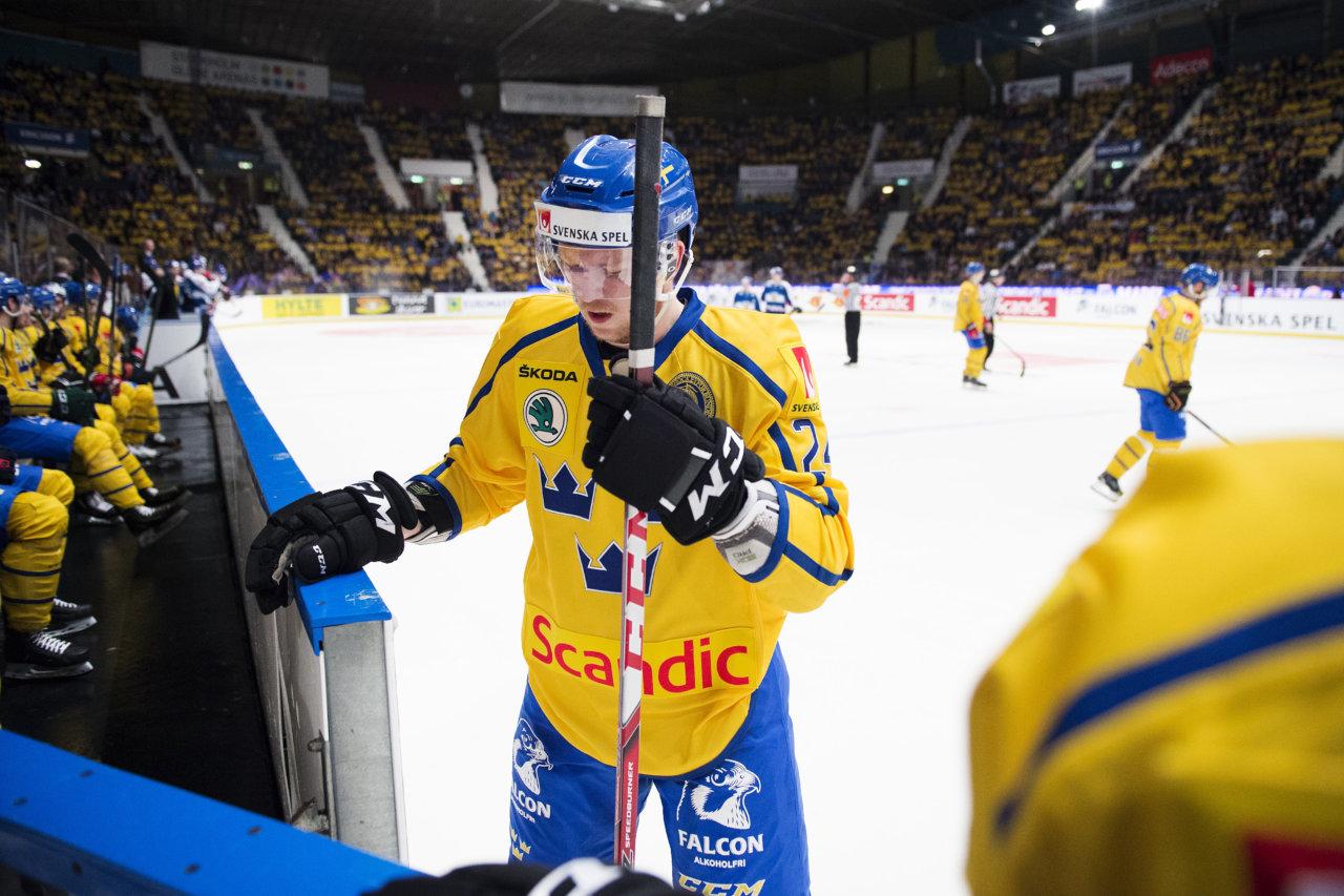 160213 Sveriges Tim Heed under landskampen i ishockey mellan Sverige och Finland den 13 februari 2016 i Stockholm. Foto: Johanna Lundberg / BILDBYRN / kod JL / 135562