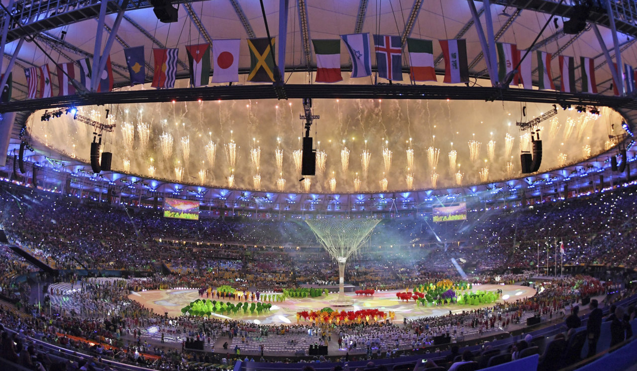 160821 OS 2016, Dag 16, Avslutningsceremoni: Uebersicht Maracana-Stadion, Feuerwerk Rio de Janeiro, 21.082016, Olympische Spiele Rio 2016, Schlussfeier © BildbyrŒn - COP 39 - SWEDEN ONLY